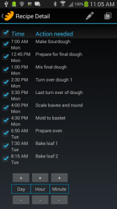Screen shot of the recipe's alarms in the BreadBoss app.