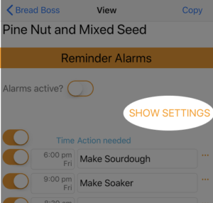 Alarms - Show settings