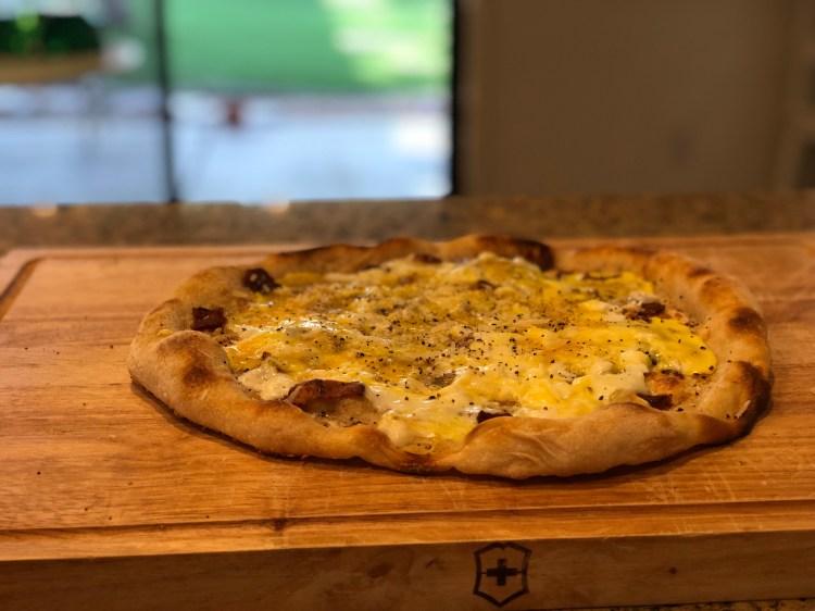 carbonara sourdough pizza