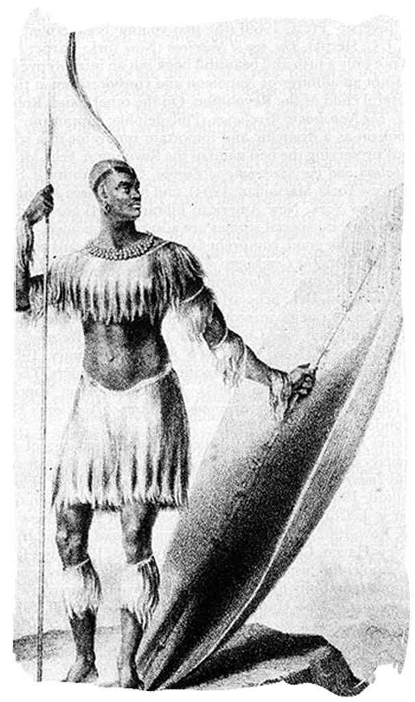 Only known drawing of King Shaka standing with the long throwing assegai and the heavy shield in 1824