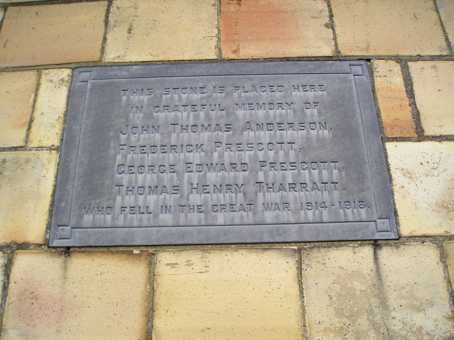 commemorative plaque to four men from South Willingham who died in the Great War