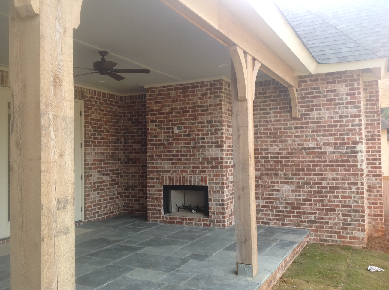 Annandale ivory backporch fireplace  South Alabama Brick