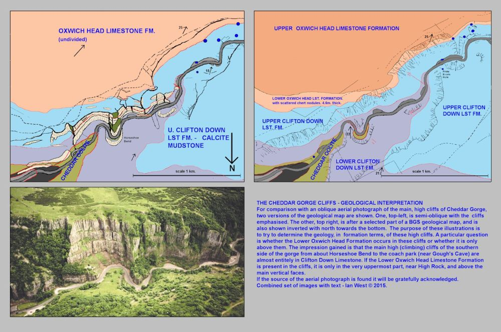 medium resolution of cheddar cliffs in lower cheddar gorge with diagrams relating topographic features and geological outcrops mendip