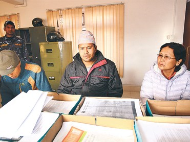 The three bride traders who were arrested by Nepal Police on February 6. Photo: The Kathmandu Post