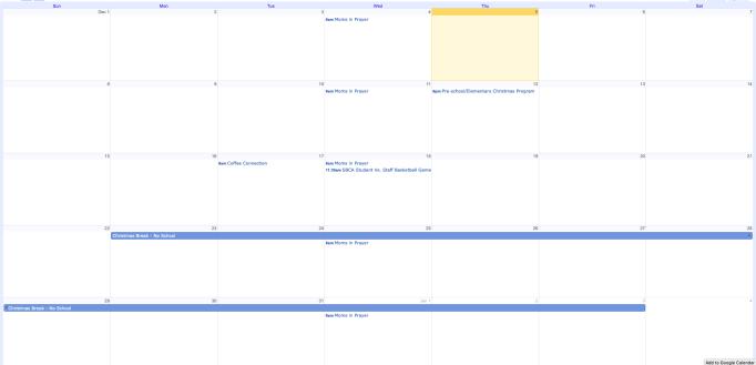 Google Calendar Subscription