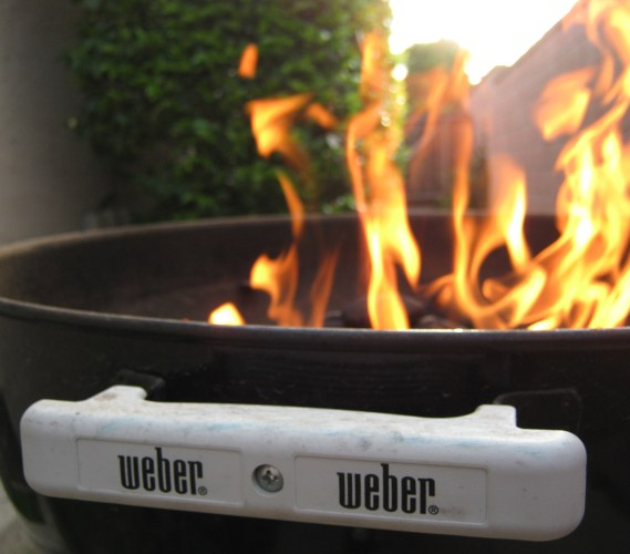 A Flaming Weber Grill