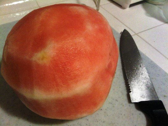 A Completely Peeled Watermelon.