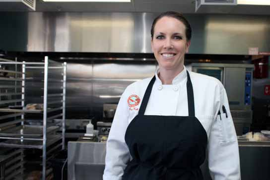 Chef Meg Hall in her recently opened catering kitchen and lunch-dinner counter in Redondo Beach