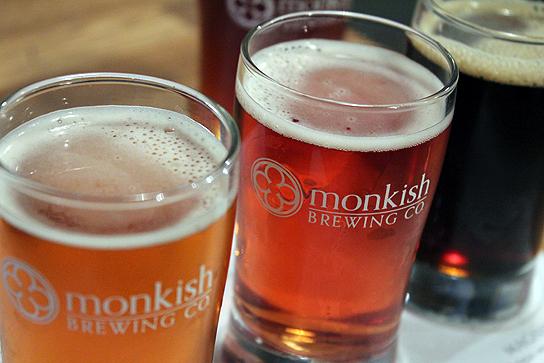 Sampling a flight at Monkish Brewing in Torrance.