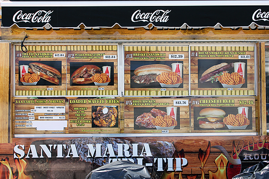 Santa Maria tri-tip might go well with a beer from the Tecate booth.