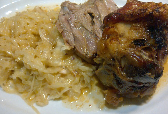 Pork knuckle with sauerkraut