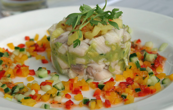 Tower of ceviche with fresh avocado