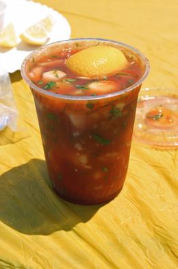 Chilled shrimp cocktail served