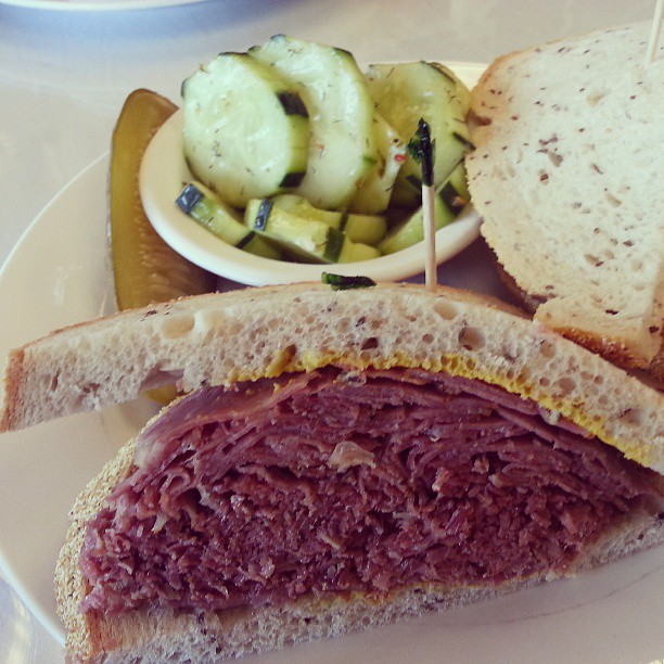 Hot #pastrami on rye with a #cucumber #salad.  #Lunchtime #Torrance