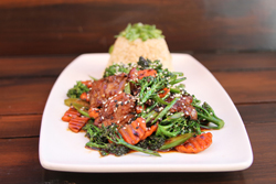 Beef and broccolini and carrots