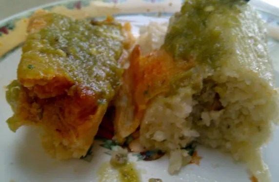 Inside the pork and chicken tamales
