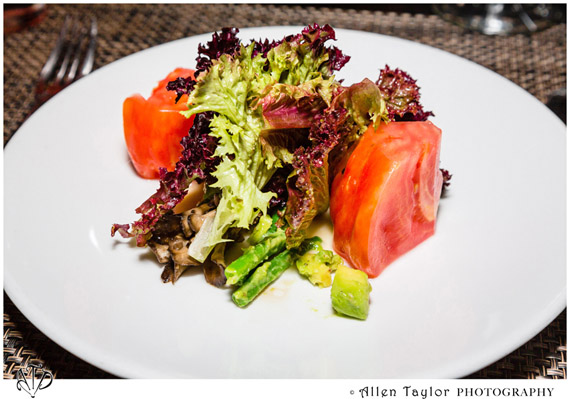 Grilled Maitake salad with heirloom tomatoes haricot vert and avocado