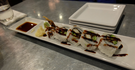 Soft shell crab roll drizzled with their eel sauce