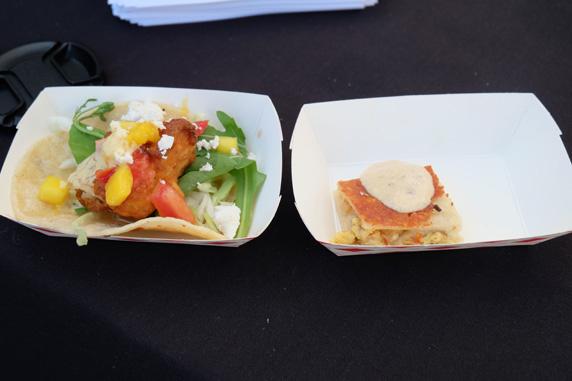 Tempura fish taco & blue crab quesadilla