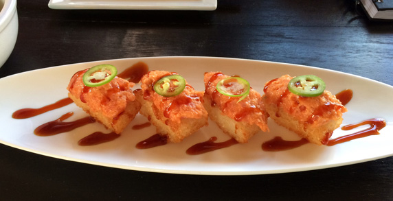 Crispy rice topped with spicy tuna