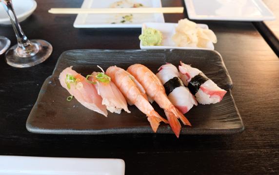Hamachi, ebi and tako