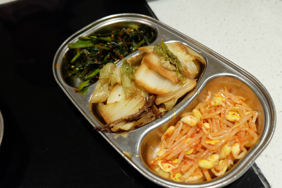 We were served three trays of complimentary banchan