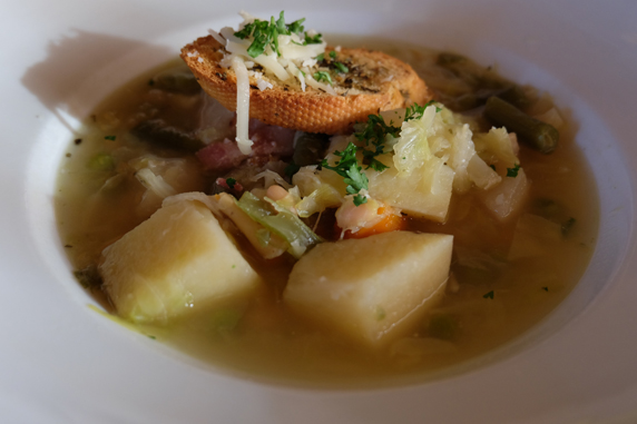Potages Garbure with carrots, sliced green beans, white beans and potatoes