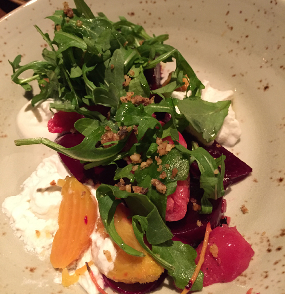 Tri color beet salad with gorgonzola dolce
