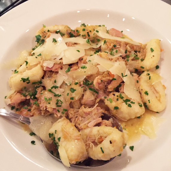 Gnocchi stuffed with chicken, pancetta and sausage