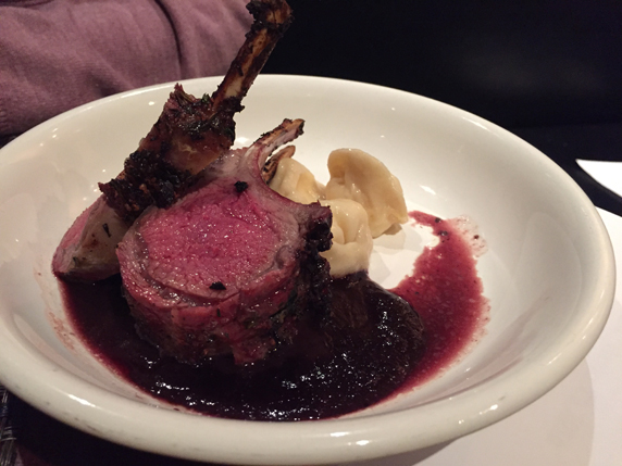 Lamb Rack Chop with black and blueberry sauce and cheese tortellini