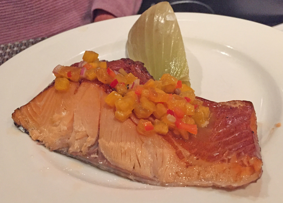 Hot smoked salmon with persimmon relish and a roasted fennel