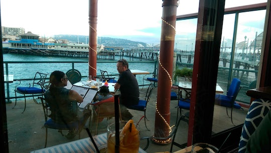 Outdoor seating is available if you want to really be on the water. Patio views face the rocky shore just behind the Redondo Beach Pier.