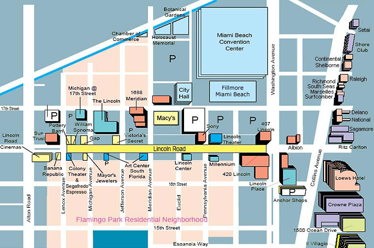 Lincoln Road Map  Shopping  Hotels  South Beach Magazine