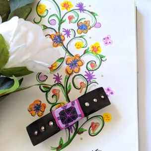 Black and Cerise Barrette Clip
