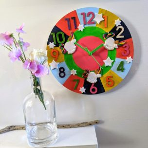 Earth Tones Unicorns clock
