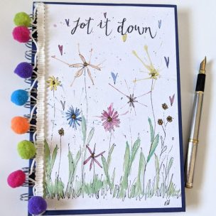 Pom Pom Wild flower Garden notebook cover