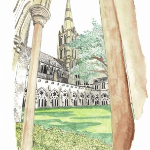 Close up Salisbury Cathedral watercolour