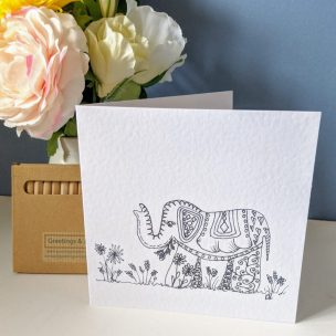 Elephant - colour it yourself Greetings Card