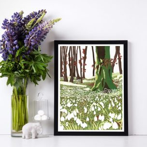 Snowdrop Woods limited edition reduction Lino print framed