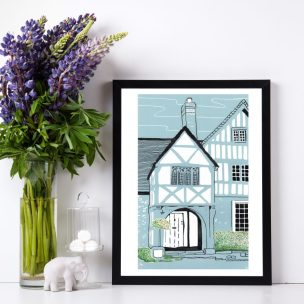 Lacock Cottage Limited Edition Lino Print and Watercolour Framed