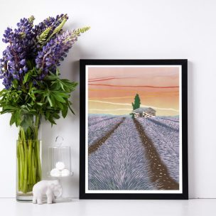 Lavender Field limited edition reduction Lino print framed