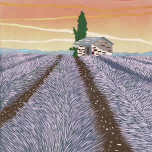 Lavender Field limited edition reduction Lino print unframed