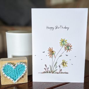 Flowers in a breeze card
