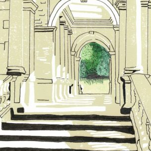 Palladian Bridge Limited Edition Lino Print and Watercolour Unframed
