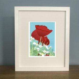 Poppies and Daisies limited edition reduction Lino Print framed