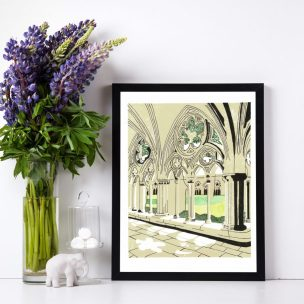 Salisbury Cathedral Limited Edition Lino Print and Watercolour Framed