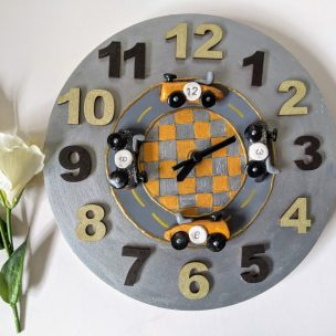 Old Fashioned Silver racing car clock