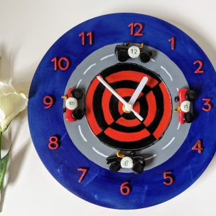 Blue and Red old fashioned racing car clock