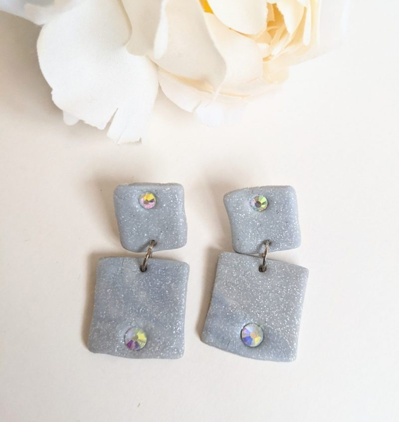 Glitter grey crystal and polymer clay drop earrings