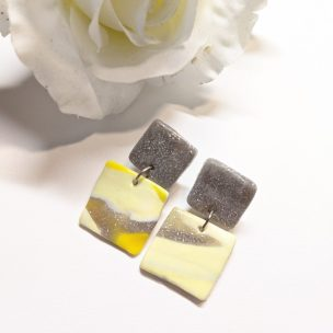 Marble effect square Dangly earrings
